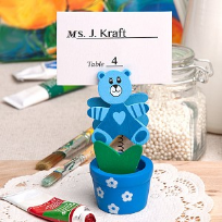 Blue Teddy Bear Flower Pot Place Card Holder